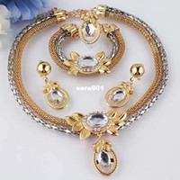 Wholesale New k Yellow Gold Filled White Sapphire Chain Necklace Bracelet Earring Ring Jewelry Set
