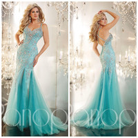 Model Pictures Spaghetti Straps Tulle Pageant Gown 2014 Sparkling Beaded All Bodice Mermaid Aqua Lace Prom Dresses Evening Formal Gown With Straps Back