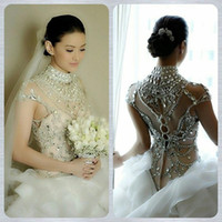 Wholesale Hot Sale Ball Gown Wedding Dresses Gorgeous White Organza High Neck See Through Cap Sleeve Shining Sequins and Rhinestones Bridal Gown