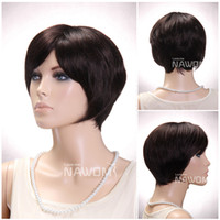 Medium Brown Straight 11.00'' Free Shipping Hot Selling for women short wigs Cheap Oblique bangs short straight wig dark brown temperament realistic wigs