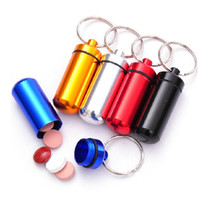 Wholesale Aluminum Pill Box Case Bottle Holder Container Keychain Key Chain Key Ring New Pill Users Must Mixed Color DHL