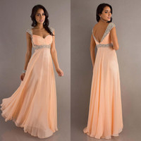 Wholesale 2014 Sexy Fashion Peach Coral Mint Green Hunter Color Cheap Capped Sleeves Prom Dresses Backless Sweetheart Cheap Chiffon Evening Gowns