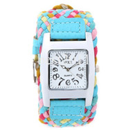 Fashion batteries ups - 6 Colors Promotion Fashion Korea Rope Watch Weaving Braided PU Leather Cord Bracelet lady Quartz wristWatch DHL free