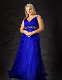 Wholesale LM Sexy V Neck Sash Beads Prom Dresses Chiffon Floor length Royal Blue Plus Size Evening Dress Party Gowns