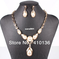 Wholesale PN12589 Classic Imitated Pearl Jewelry Sets Clear Crystal Gold Silver Plated Good Quality Bridal Jewelry Wedding Jewelry sets
