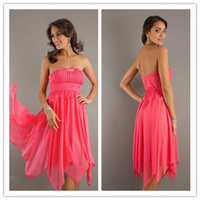 Wholesale LM New Coral Handkerchief Strapless Beads Chiffon Prom Dresses Party Dress Homecoming Dresses Gowns Custom Made Graduation Dress