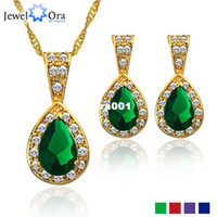 Wholesale Cubic Zircon Wedding Jewelry Sets For Women JewelOra JS100336 Flower K Lady Necklace And Earring African Jewelry Sets Crystal
