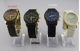 Wholesale Silicon Brand Wrist Watches - HOT Famous Brand Dress Silicon Band Analog Quartz Christmas Gift Wrist Watch for Men Women Ladies  w Original Logo