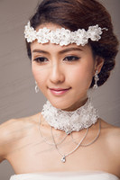 Fascinators Rhinestone/Crystal Same as picture Top Quality Free Shipping Lace Pearls Wedding Bridal Tiaras Jewelry And Necklace Crystal Hair Ornaments Wholesale Hair Accessories DL1311265