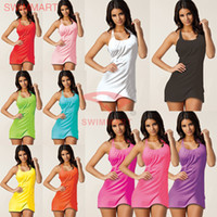 Wholesale 10 Colors Summer dress Women Sexy Dress Bikini Suits Beach Skirt Casual Dresses Sexy Swimming Wear Ladies Cover Up Beachwear swimwear