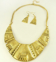 shell necklace and earring - Vintage Golden Chain Retro Metal Statement Necklace And Earring Sets