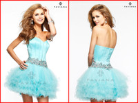 Wholesale 2014 Short Light Sky Blue Ball Gown Homecoming Dresses Sweetheart Backless Mini Graduation Dress Crystal Beads Sequins Cocktail Gowns WJ