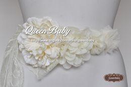 Ivory Sash Belt, Flower sash, Flower Belt, Wedding Sash, Flower girl sash, Pink Flower sash belt 10PCS Lot QueenBaby