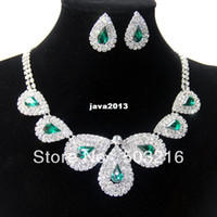 Bracelet,Earrings & Necklace Women's Wedding High Quality Austria Crystal Promotion Rhodium Plated Green Color African Costume Jewelry Set