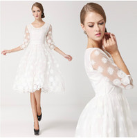 Casual Dresses Round Knee Length 2014 spring and summer women's organza midguts decoration lace half sleeve one-piece girl dress