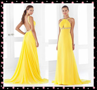 Reference Images Strapless Chiffon FX Wow!! Shiny Yellow Formal Evening Dresses Halter Neck Beading Ruched Sweep Train Long Prom Dress Backless Red Carpet Pageant Dresses
