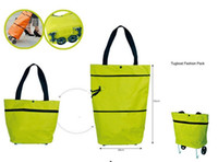 Folding AA Plain shopping bag fashion tugboat pack travel bag with trolley foldable round dot tug bag