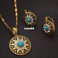 Wholesale Unique Sun Star Pattern Necklace Earrings Set K Real Gold Plated Blue Turquoise Fashion Jewelry Set For Women S2045