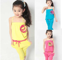 110- 140cm 4sets For Big Girl 2014 Kids Summer Set Child Slee...