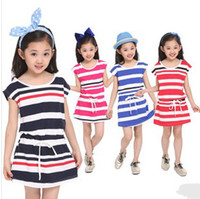 Classic Children Girls Puff Sleeve Navy Wathet Blue Red Hot ...