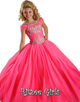 Wholesale 2014 Pink Off the Shoulder Organza Glitz Flower Little Girls Pageant Dresses Crystal Ball Gown Floor Length Beaded Sleeveless Cute Gowns