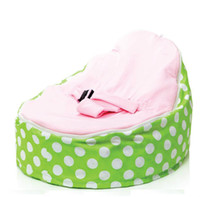 Wholesale Hot Promotion Baby seat baby bean bag grren pink dots beanbag chair without filling