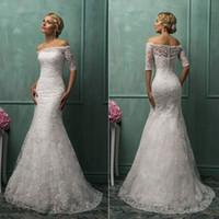 A-Line Reference Images V-Neck 2014 Hot Design Bridal Gown Off Shoulder Sheer Lace 1 2 Sleeve Bateau Mermaid Amelia Sposa White Wedding Dresses