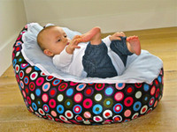 baby beanbags - Hot Promotion Baby seat baby bean bag hot sell blue pock dots beanbag chair without filling
