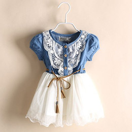 Wholesale New Summer Girls Denim Dress Baby Tutu Dress Kids Princess Dresses Lace And Gauze Hem With Belt Children Clothing Casual Dresses NC GD216