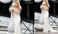 Reference Images Crew Satin Sexy White Tarik Ediz 2014 Crew Evening Dresses Mermaid Satin Embroidery Appliques Backless Court Train Prom Dress Celebrity Gown