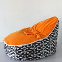 Wholesale Hot Promotion Baby seat baby bean bag orange black flower beanbag chair without filling