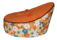 Wholesale baby bean bag orange flower beanbag chair without filling baby bean cover