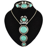 antique look rings - Vintage Look Tibetan Silver Alloy Antique Silver Plated Turquoise Bead Necklace Bracelet Ring Jewelry Sets S003