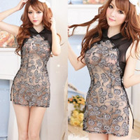 Wholesale Details about Sexy Lingerie Set BabyDoll Underwear Sheer Cheongsam Costume Chemise Black AD