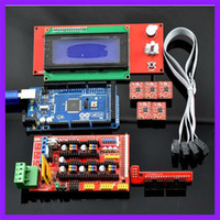 Cheap 1pcs Mega 2560 R3 + 1pcs RAMPS 1.4 Controller + 5pcs A4988 Stepper Driver Module +1pcs 2004 controller for 3D Printer kit