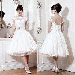 Sexy Graden Cap Sleeve Sheer Backless Wedding Ball Gowns Dresses White Vintage Tea Length Wedding Dress Lace Plus Size Wedding Dresses