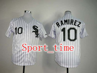 Wholesale White Sox Alexei Ramirez Stitched authentic baseball jerseys White with black pinstripe jersey cheap stitched softball uniforms kits