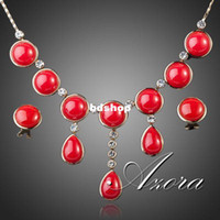 amazing elements - Amazing K Gold Plated SWA Element Austrian Crystal Red Viscose Earrings and Necklace Jewelry Set Azora TG0028