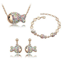 austrian crystal costume jewelry - austrian crystal clown fish Rose gold plated african costume jewelry set for wedding
