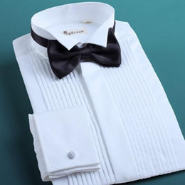 Wholesale High Quality Fashion White Shirt Prom Party Mens Wedding Apparel Groom Wear Shirts With Bow DL11272
