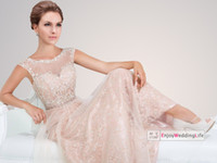 Reference Images Scoop Organza 2014 New Sexy Sheer Cap Sleeves Lace Floor Length Prom Dresses Beaded Top Organza Evening Gowns TBE11415