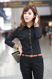 Wholesale 2014 New CHIC Sexy OL Women Fashion Long Sleeve Slim Cotton Shirt with Leopard Sleeves Blouse Top S XXL W4314