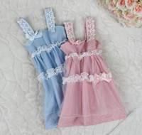 Wholesale 14 Summer Kids Dress Princess Girls Sweet Gallus Ribbon Bowknot Lace Layer Gauze Tulle Sundress Baby Girl s Pinafore Dresses Pink Blue F0381