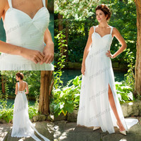 A-Line Reference Images Sweetheart 2014 Stylish Chiffon A-Line Garden Wedding Dresses Beaded Sweetheart Neckline Wide Straps Backless Sexy Slit Cheap Goddess Grecian Gowns