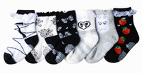Wholesale 6 Pairs Set High Quality Lovely Cartoon Pattern Non Slip Pure Cotton Lace Short Socks for Baby Girls CMBS