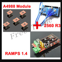 Cheap Mega 2560 R3 + 1pcs RAMPS 1.4 Controller + 5pcs A4988 Stepper Driver Module for 3D Printer kit Reprap MendelPrusa Free Shipping