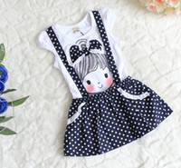 Wholesale Summer Kids Dress Little Girl Printed Big Lace Bowknot Fake Gallus Puff Sleeve Navy Flouncing Polka Dots Dresses Fuschia Pink White F0382