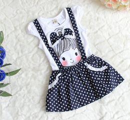 Wholesale Summer Kids Dress Little Girl Printed Big Lace Bowknot Fake Gallus Puff Sleeve Navy Flouncing Polka Dots Dresses Fuschia Pink White F0382