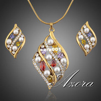 amazing elements - Amazing K Real Gold Plated SWA ELEMENTS Austrian Crystal Stud Earrings and Pendant Necklace Set Azora TG0016