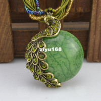 Wholesale Fashion jewelry Vintage style Small beads Drop Pendant peacock Necklaces costume jewelry w Shipping quot N799